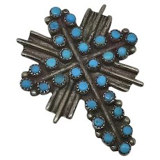 Vintage Sterling Silver Indian Turquoise Cross Tie Tack Lapel Pin