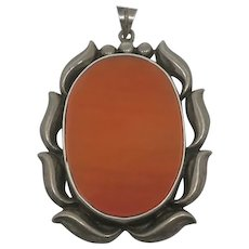 Large Sterling Silver Hand Made Banded Carnelian Native American Indian Pendant