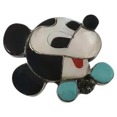 Vintage Zuni Indian Mickey Mouse Pin Pendant Mother of  Pearl Turquoise Inlay Disney Sterling Silver