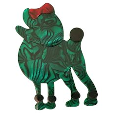 Large Laminated Cellulose Acetate Poodle Dog with Bow Figural Pin