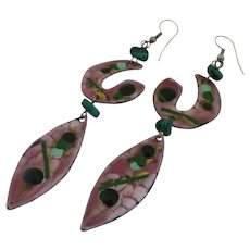 Long Artisan Copper Enamel Malachite Modernist Earrings