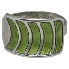 Vintage David Andersen Sterling Silver Green Enamel Guilloche Ring Size 9 Norway