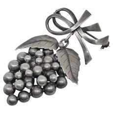 Large Vintage John L Lauritzen Danish Denmark 830 Silver Grapes Leaves Pin