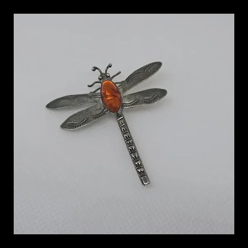 Vintage Earlier Native American Indian Dragonfly Bug Insect Sterling Silver Amber Pin Handmade