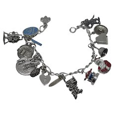 Vintage Sterling Silver Charm Bracelet Rare Moving Charms, Enamel, Mechanical , Disney Pinocchi, Beau
