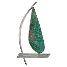 Large Vintage Modernist Sterling Silver Green Stone Sail Boat Pin Hand Made