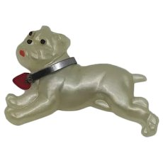 Vintage 1940s Early Plastic Bulldog  Dog Pin Collar and Heart Tag Painted Lucite
