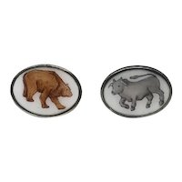 Vintage Sterling Silver Enamel Italian Bull Bear Stock Market Cufflinks Cuff Links  Toggle Back  RARE NEW REDUCTION