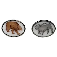 Vintage Sterling Silver Enamel Italian Bull Bear Stock Market Cufflinks Cuff Links  Toggle Back  RARE