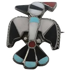 Vintage Native American Indian Zuni Sterling Silver Thunderbird Inlaid Stone Pin Brooch Pendant