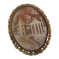 Antique Scenic Carved Shell Cameo Pin Brooch NEW REDUCTION