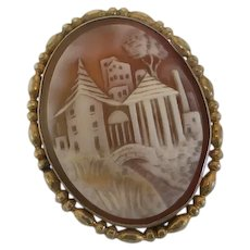 Antique Scenic Carved Shell Cameo Pin Brooch