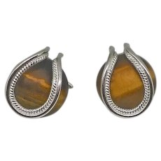 Vintage Sterling Silver Tiger's Eye Cufflinks Cuff Links