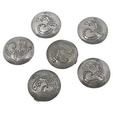 Vintage Native American Indian Sterling Silver Top Lizard Button Covers Full Set 6