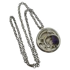 Vintage Abstract Artisan Amethyst Sterling Silver Modernist Necklace Pendant