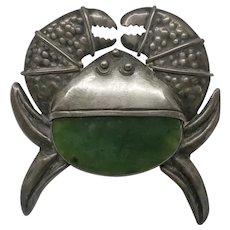 Large Vintage Sterling Silver Bill Ilfeld Crab Green Stone Pin Fur Clip