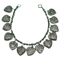 Vintage  Sterling Silver Puffy Heart Charm Bracelet 13 Charms!