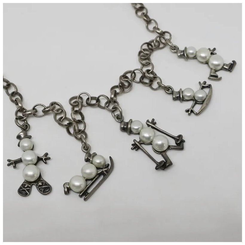 Sterling Silver Antiqued Skis w//Lobster Claw Clasp Charm