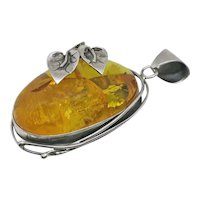 Vintage HUGE  Amber  Floral Sterling Silver Pendant 3 and 1/2 Inches!