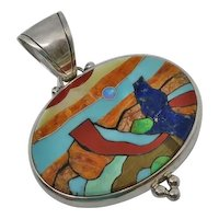 Large Sterling Silver Beautiful Scenic Stone Inlay Pendant Turquoise Lapis