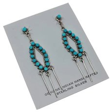 Long Zuni Indian Jewelry Sterling Silver Turquoise Post Dangle Earrings Leon Unkestine