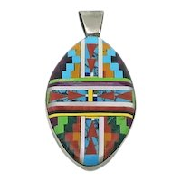 Beautiful Inlay Mosaic Stone  Pendant Reversible