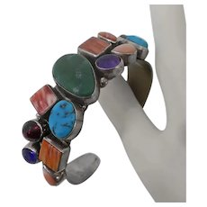 Sterling Silver Gemstone Native American Indian Cuff Bracelet Sam Piaso Nakai