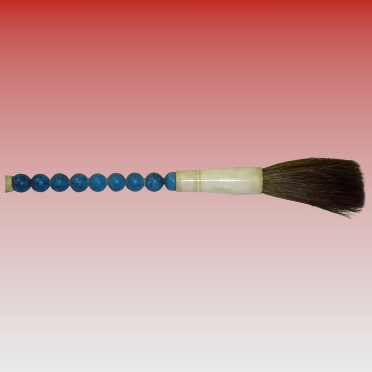 Vintage Asian Calligraphy Brush With Blue Magnesite Beads Cameo