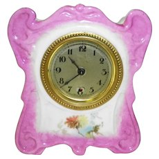 Antique German Porcelain Clock In Working Condition