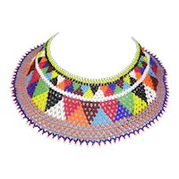 Vintage Beaded Collar In Multiple Vivid Colors
