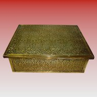 Embossed Brass Hinged box With Silk Lining