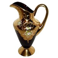 Ardalt Italy Hand Blown Amethyst Glass With Gold Overlay Pitcher / Ewer