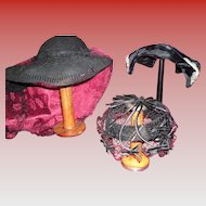 Vintage Lot Of 3 Black Hats 2 Victorian 1 1930's