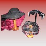 Vintage Lot Of 3 Black Hats 2 Victorian 1 1930's