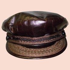 Vintage Men's Deerskin Trading Post Leather Hat Size 7 Newsboy Cap