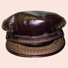 Vintage Men's Deerskin Trading Post Leather Hat Size 7 Newsboy Cap
