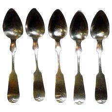 Set Of 5 Coin Silver Spoons C & J Vanhouten