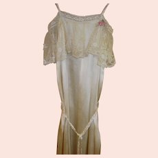 Victorian Style Ivory Silk Evening Gown Size XS