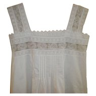 Victorian White Linen Nightgown with Lace XS
