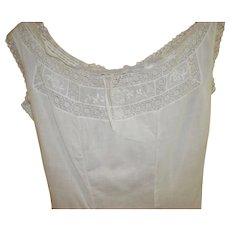 Victorian White Linen Summer Dress Size XS