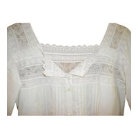 Victorian White Cotton Nightgown With Lace and Cutwork
