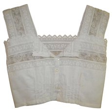 Victorian White Blouse / Crop Top with Lace and Cut Work