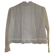Victorian Off White High Neck Sheer Linen Blouse