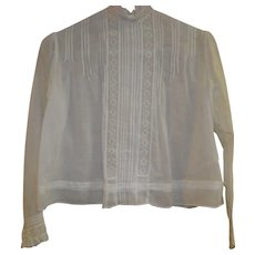 Victorian Off White High Neck Sheer Linen Blouse