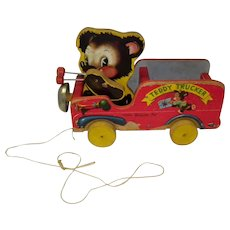 """Vintage 1949 Fisher Price Wooden Pull Toy """"Teddy Tucker"""""""