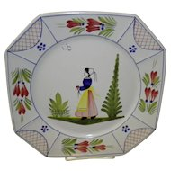 "10"" Henriot Quimper Square Dinner Plate"