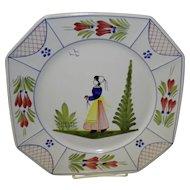 """Vintage 10"""" Henriot Quimper Square Dinner Plate"""