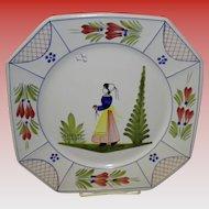"10"" Henriot Quimper Square Dinner Plate"