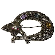 925 Sterling Silver Leopard Pin With Ruby Amethyst Aquamarine Citrine and Marcasite Gemstones