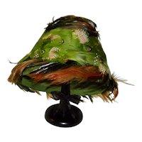 Vintage Ostrich Brown Green & Orange Feather Hat